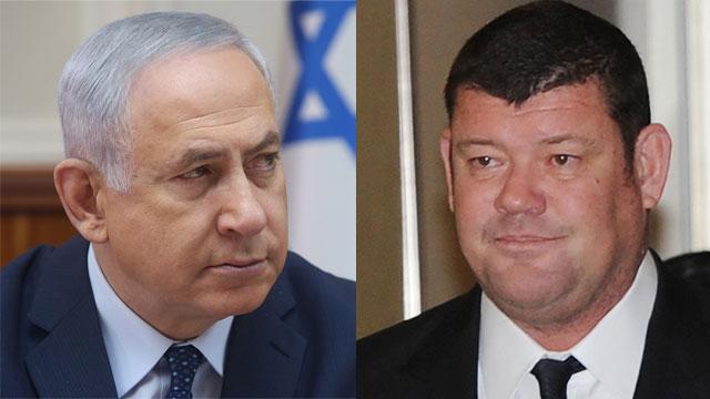 Netanyahu (L) and Packer (Photo: Marc Israel Sellem, AFP)