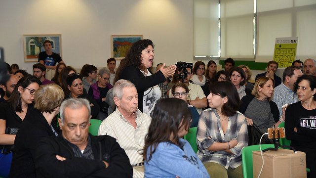 Shir Hajaj's mother, Merav, speaks out during the seminar (Photo: Rami Ben Ari)