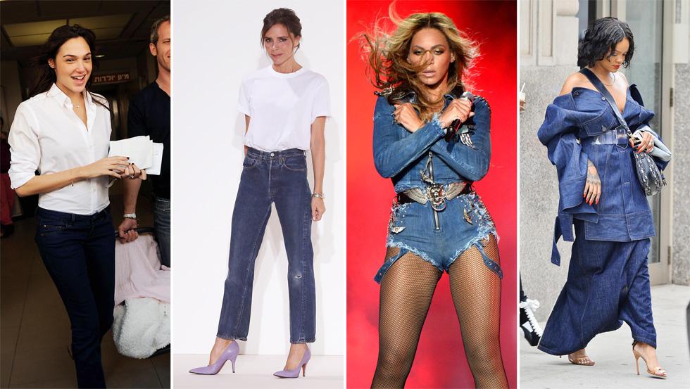 רגעי ג'ינס שעשו היסטוריה.  ריהאנה, ביונסה, ויקטוריה וגל גדות (צילום: splashnews/asap creative, Gettyimages)
