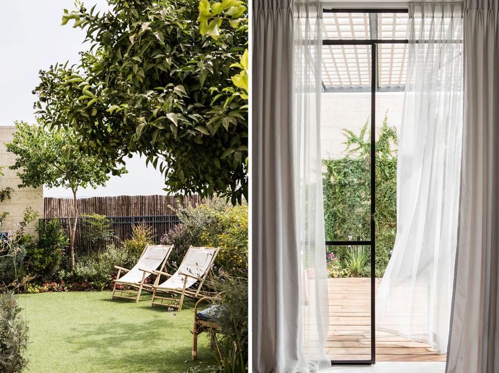 """הווילונות על הוויטרינה הגדולה בסלון (מימין) מורכבים משתי שכבות. """"אהבתי את המרחק הרב מחלונות השכנים, שמאפשר פרטיות"""", אומרת גרוס (צילום: איתי בנית)"""