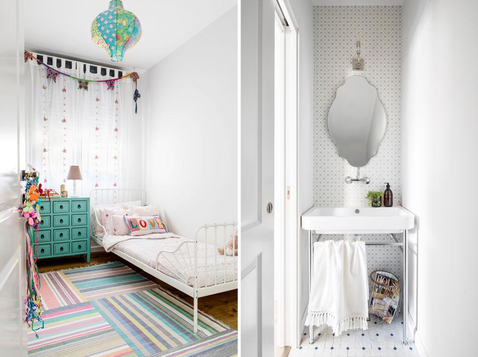 שירותי האורחים (מימין) עוצבו בסגנון אירופי. בחדרה של אחת הבנות שטיח צבעוני ושידת וינטג' יוצרים תחושה אישית (צילום: איתי בנית)
