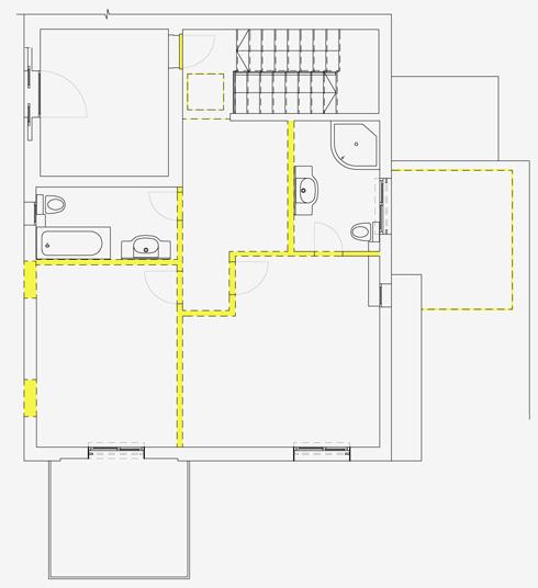 תוכנית הקומה העליונה לפני השיפוץ (תכנית: רוני ברטל שלם)