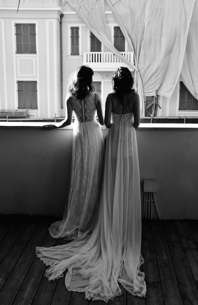 רלי לוי בשמלה של גליה להב, יעל פולקמן בשמלה של ערבה פולק (צילום: איתן טל)