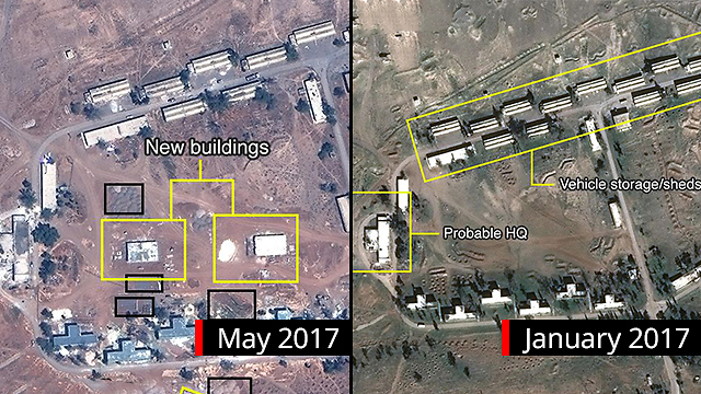 An Iranian arms base bombed in Syria  (Photo: Digital Globe, McKenze intelligence Services, BBC)