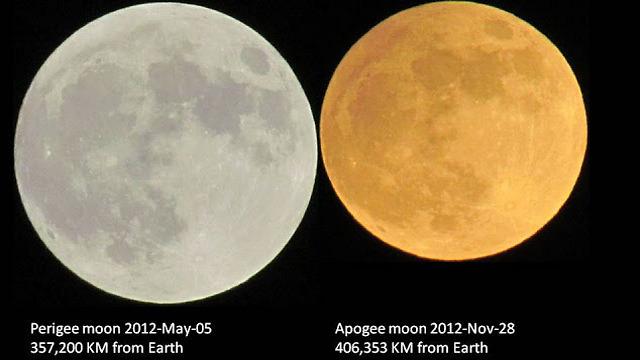"""בתמונה ניתן לראות את ההבדלים בין 2 ירחים מלאים בהפרש של חצי שנה. אכן פער גדול.  (צילום: גדי אידלהייט, בלוג """"אסטרונומיה ומדע"""") (צילום: גדי אידלהייט, בלוג"""