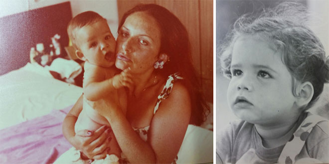 """שלי בילדותה ועם אמה. """"עבדה שעות ארוכות ואני הפכתי לנערה עצמאית מאוד"""" (צילום: אלבום פרטי)"""