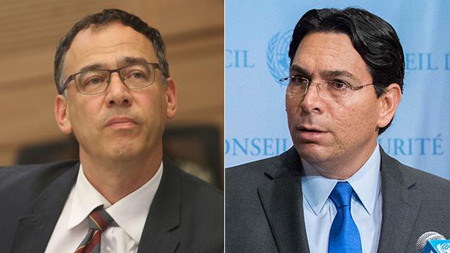 State Attorney Shai Nitzan; Israeli Ambassador Danny Danon (Photos: Alex Kolomoisky, AP)