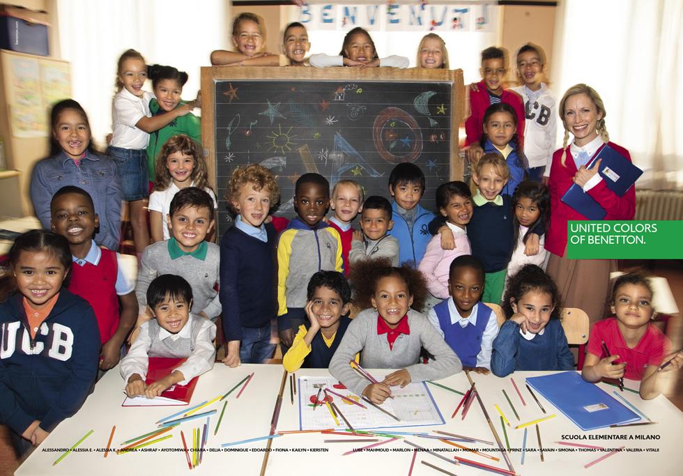 הקמפיין החדש של בנטון. כיתה בת 28 תלמידי בית ספר יסודי באיטליה, כולם מהגרים מקבוצות אתניות שונות (צילום: Oliviero Toscani)