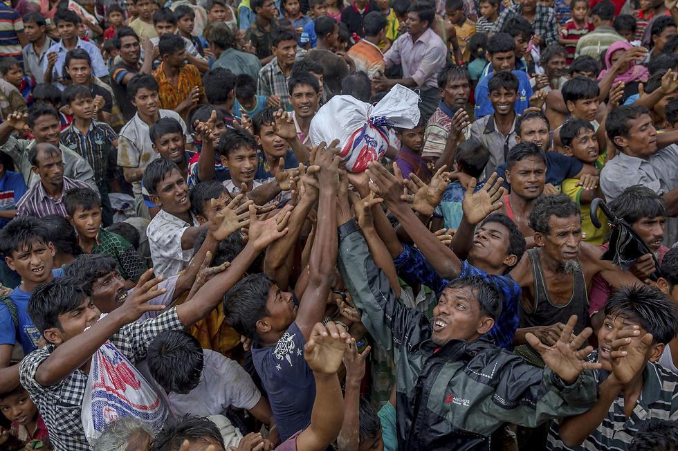 חלוקת מזון לפליטים בני רוהינגה ממיאנמר שברחו לבנגלדש (צילום: AP) (צילום: AP)