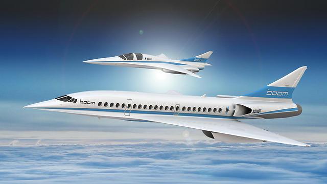 """מטוס הנוסעים העל קולי לצד XB-1 """"בייבי בום"""", דגם קטן יותר של מטוס על-קולי שמפתחת החברה (REUTERS/Boom Supersonic ) (REUTERS/Boom Supersonic )"""