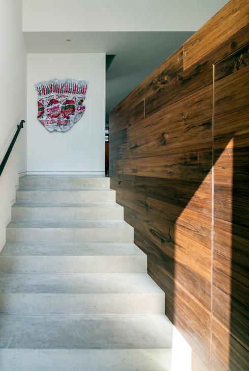 המדרגות המובילות מדלת הכניסה אל החלל הציבורי של הבית  (צילום: עמית גרון)