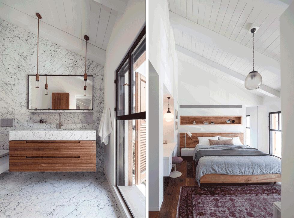 יחידת ההורים נבנתה תחת הגג המשופע. גב המיטה מחופה בפורניר אגוז, ומאחורי הקיר נמצא חדר הרחצה (משמאל) שנעטף כולו באבן קררה, לבנה כמו קורות הגג (צילום: עמית גרון)