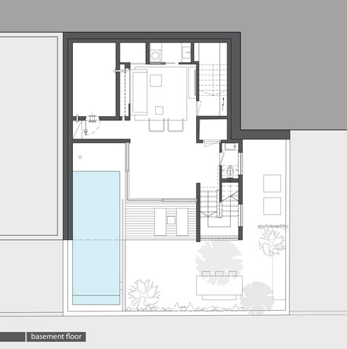 קומת המרתף (תכנית: אדריכלית מירב גלן ואדריכל שי פוגל)