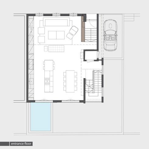 קומת הכניסה, שכולה מרחב של חלל הציבורי (תכנית: אדריכלית מירב גלן ואדריכל שי פוגל)