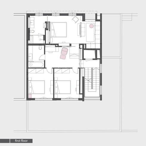 קומת חדרי השינה (תכנית: אדריכלית מירב גלן ואדריכל שי פוגל)