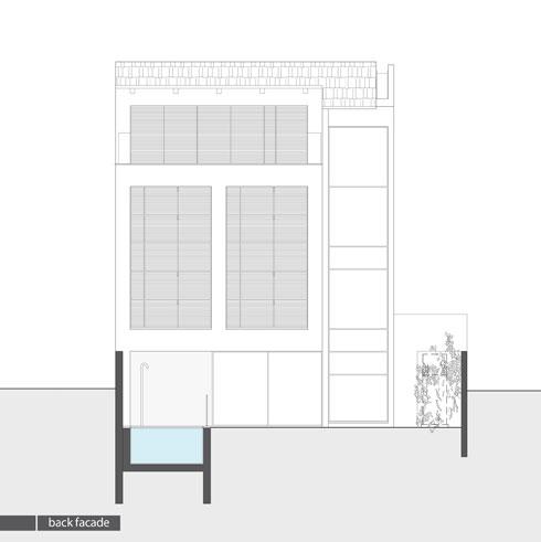 חתך של גב הבית (תכנית: אדריכלית מירב גלן ואדריכל שי פוגל)