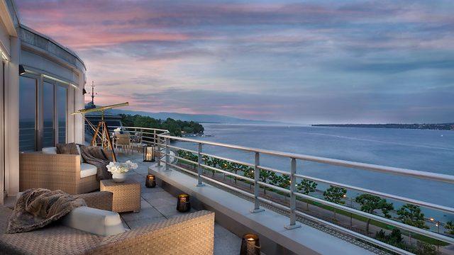 המרפסת של הסוויטה (צילום:  hotelpresidentwilson.com/Caters News) (צילום:  hotelpresidentwilson.com/Caters News)