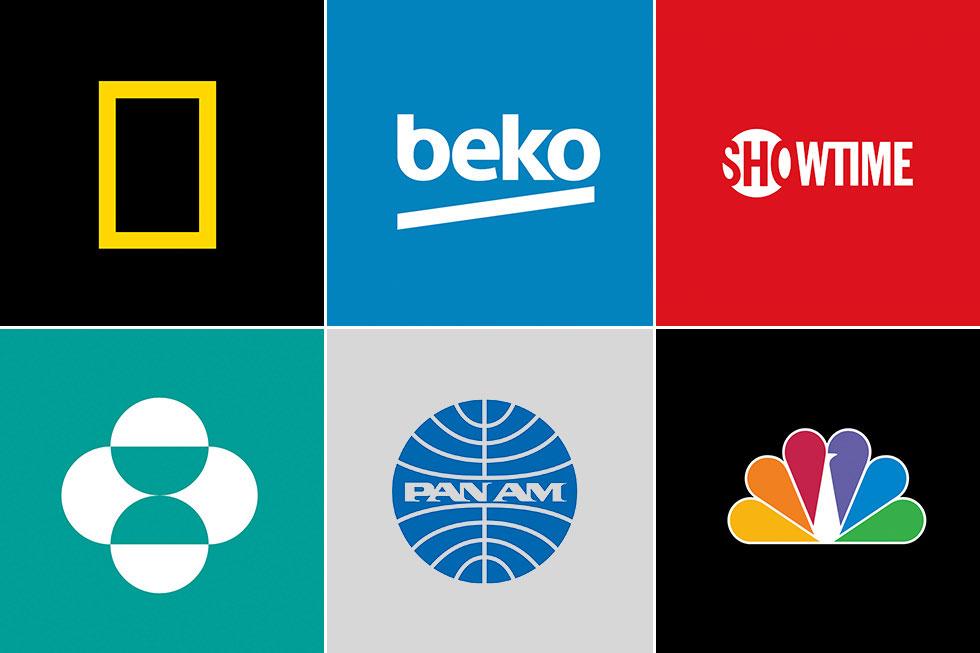 משמאל למעלה ועם כיוון השעון: נשיונל ג'אוגרפיק, חברת מוצרי החשמל בקו, חברת ההפקות שואוטיים, NBC, פן-אם וחברת התרופות מרק. כולן היו לקוחות החברה של צ'רמאייף, שהלך לעולמו אתמול, בגיל 85