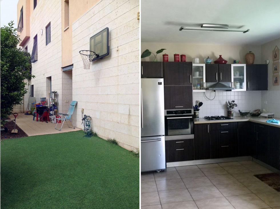 לפני השיפוץ: מימין המטבח החשוך, שהואר בזכות חלון חדש שנפרץ בקיר. משמאל החצר, כמעט נטולת צמחייה טבעית (צילום: קרן גרוס ורוני ברטל שלם)