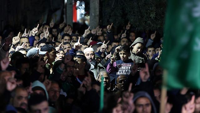 הפגנה במחנה הפליטים ג'בליה ברצועת עזה (צילום: EPA)