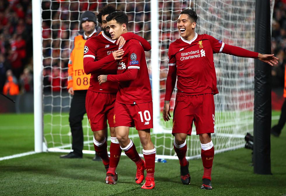 ליברפול טיילה לשמינית הגמר. פירמינו, קוטיניו וסלאח (צילום: getty images)