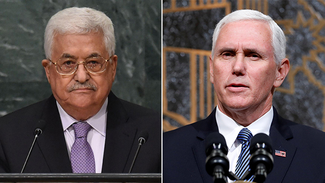 VP Pence (R) was 'unwelcome in Palestine' and his meeting with PA President Abbas was canceled (Photo: AFP, Reuters)