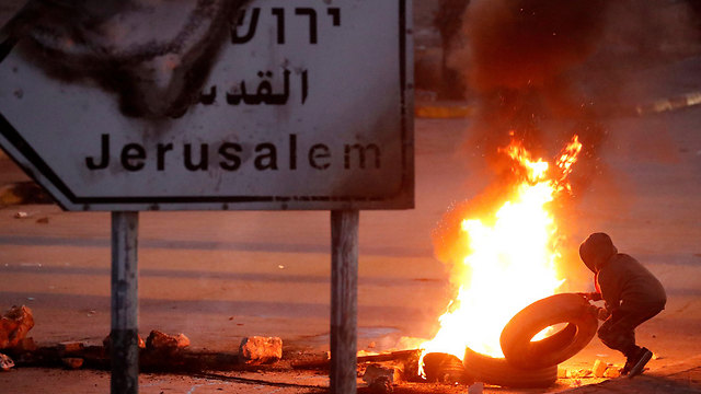 Clashes in Ramallah following Trump's Jerusalem declaration (photo: Reuters)