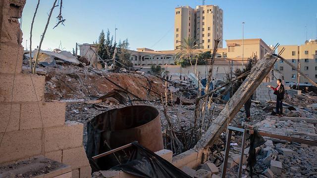 Ruins in Hamas's Gaza complex following IDF retaliatory attack