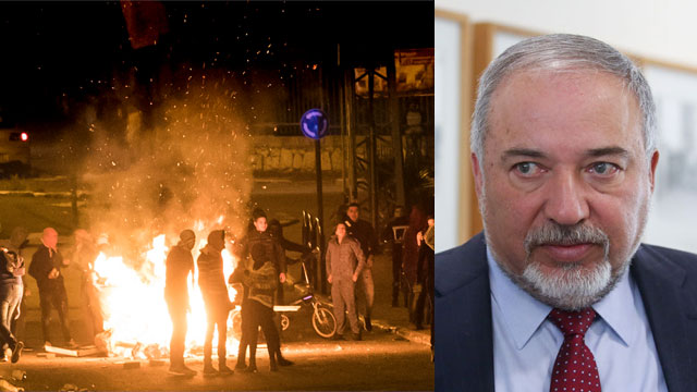 Lieberman and riot in Wadi Ara (Photo: Gil Nechushtan, AFP)