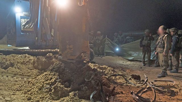 The tunnel's neutralization, Saturday night (Photo: IDF Spokesperson's Unit)