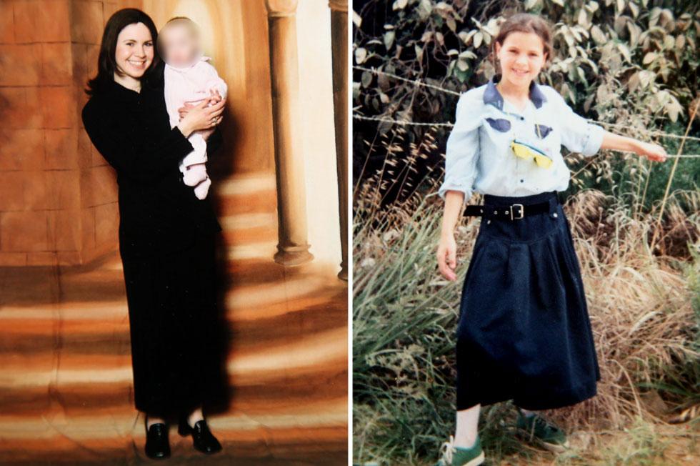 """מילשטיין בתקופה החרדית שלה, בנעוריה (מימין) ועם בתה. """"בגור אין אסור או מותר – הכל אסור"""" (צילום רפרודוקציה: יריב כץ)"""