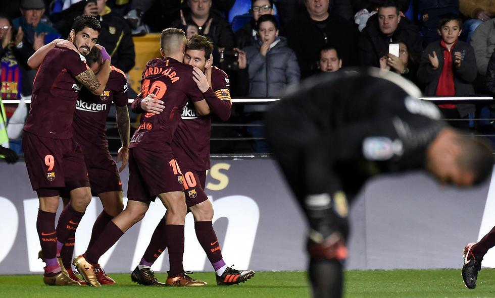 ברצלונה חוגגת. הפער מריאל חזר לשמונה נקודות (צילום: AFP)