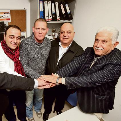 L to R: Abdel Latif, Nechushtan, Dr. Afu Agbaria and Kamel Agbaria (Photo: Elad Gershgoren)