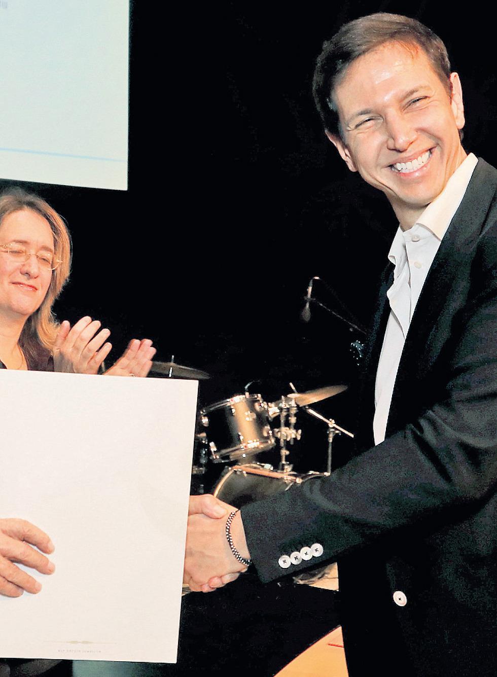 בטקס קבלת פרס סוקולוב לעיתונות כתובה ()