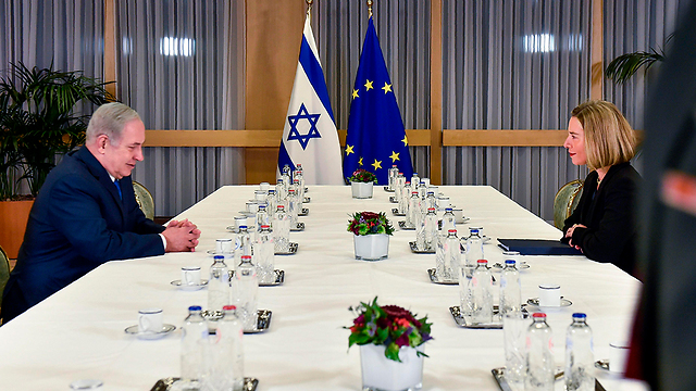 PM Netanyahu (L) and EU chief diplomat Mogherini (Photo: AP)