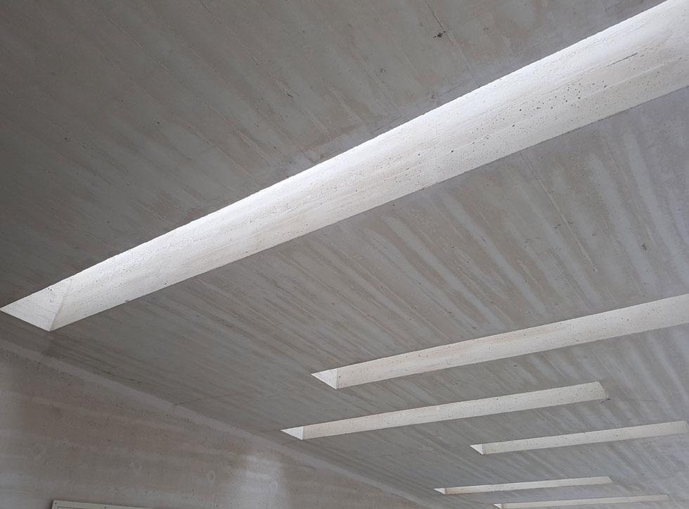 הבטון החשוף חוזר אל טכניקת הבנייה הברוטליסטית, שאפשר לפגוש מעבר לכביש בהוסטל ''אלטשול'' של האדריכלים יסקי ואלכסנדרוני: סידור מוקפד של קרשי היציקה, עם עדכון עכשווי שמונע תקלות של בריחת בטון (צילום: אורן אלדר)