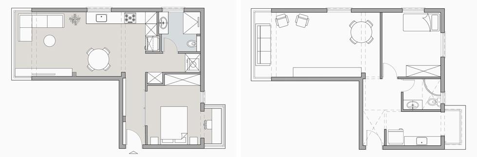 תוכנית הדירה לפני השיפוץ (מימין) ואחריו. חדר השינה תפס את מקומו של המטבח הישן (תוכנית: danka design / דנה ברוזה)