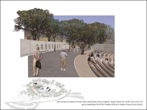קיר הזיכרון ממוקם מעל מושבי האמפיתיאטרון, בנקודה הגבוהה ביותר (באדיבות אב אדריכלות נוף וססליה ויטס כשר)