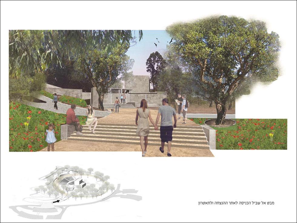 האמפיתיאטרון ישוקם ויהפוך לליבת אתר ההנצחה, שיציע מסלולי הליכה ורכיבת אופניים אליו וממנו (באדיבות אב אדריכלות נוף וססליה ויטס כשר)