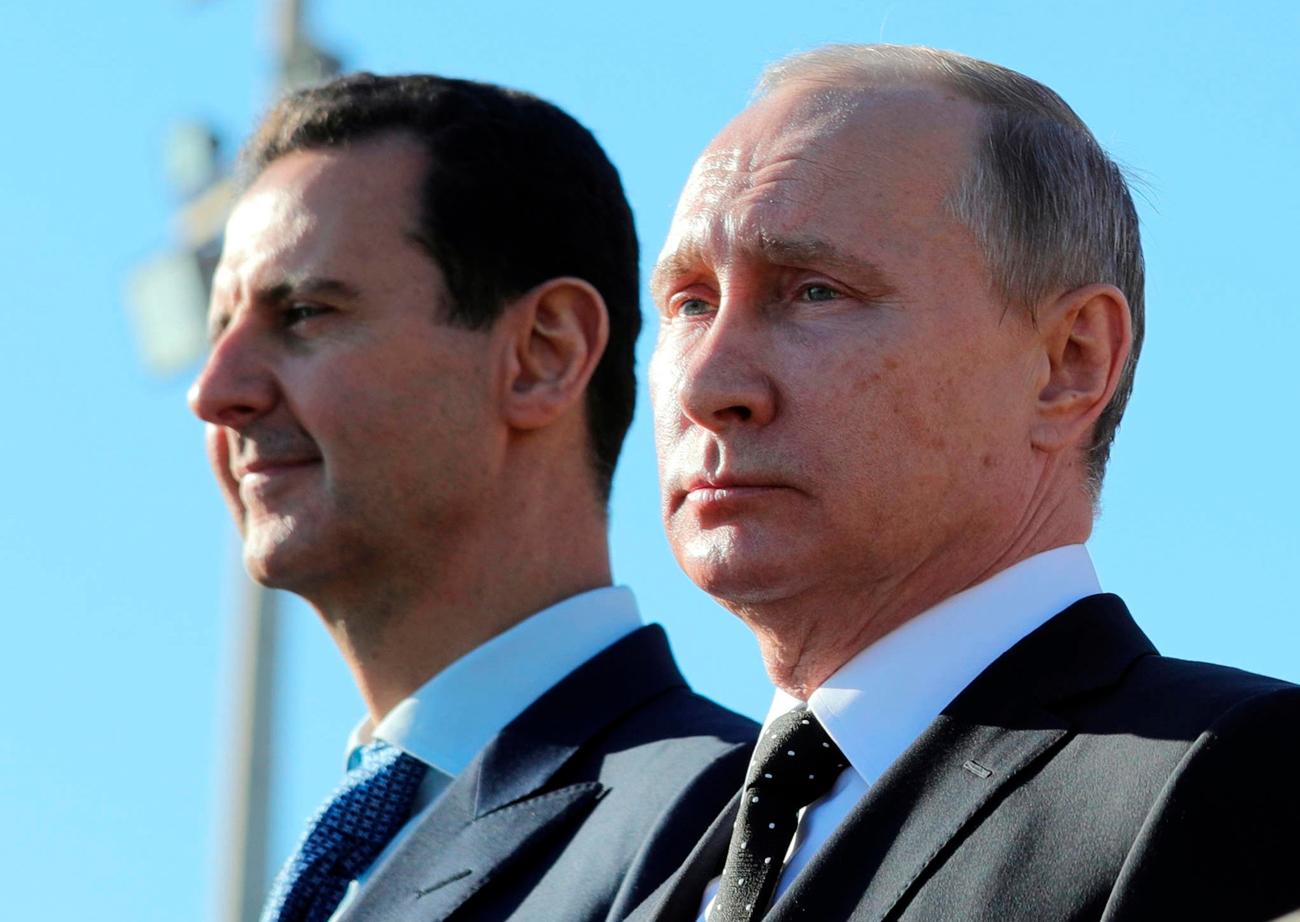 פוטין ואסד. גם רוסיה רוצה את איראן בחוץ (צילום: AP) (צילום: AP) (צילום: AP)