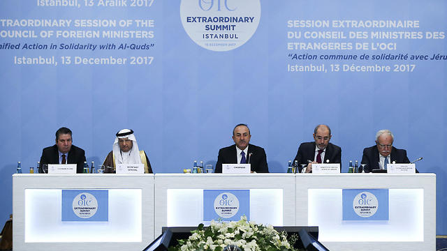 צ'בושולו מנחה את הוועידה באיסטנבול (צילום: רויטרס)