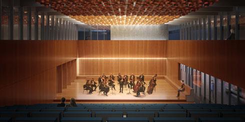 אור מוזהב בתקרת אולם הקונצרטים (באדיבות מינץ מלמד אדריכלים)