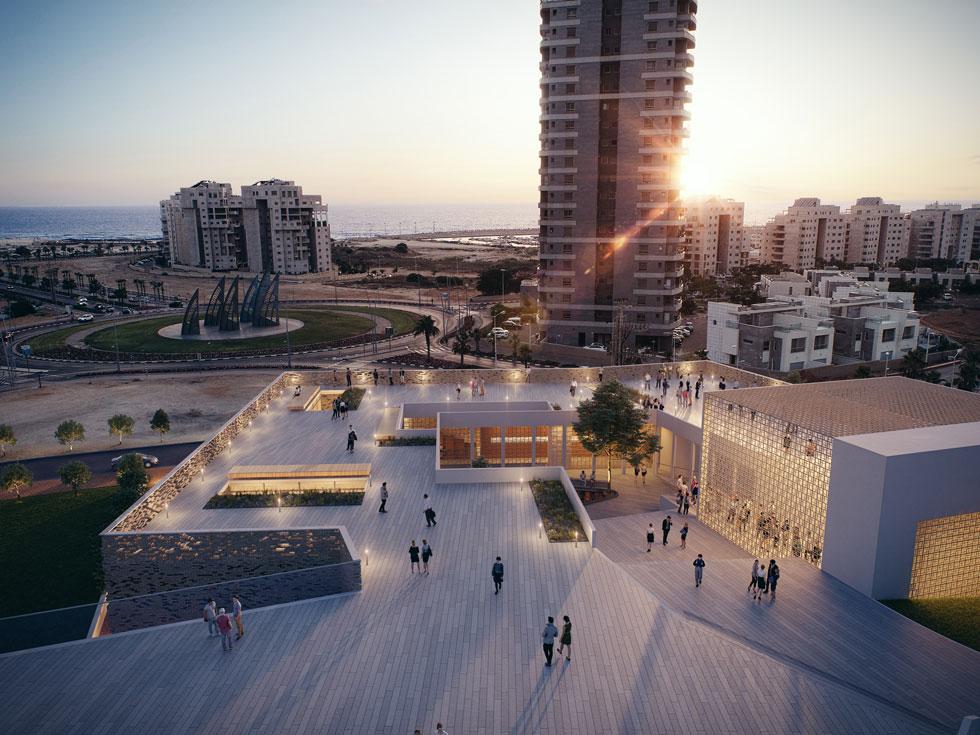 הדמיה עם מבט מהבניין העתידי לחוף אשדוד. הבניין חד-קומתי ואינו מתחרה בשכניו הוותיקים, בראשם משכן אמנויות הבמה שתכנן חיים דותן (באדיבות רכטר אדריכלים)