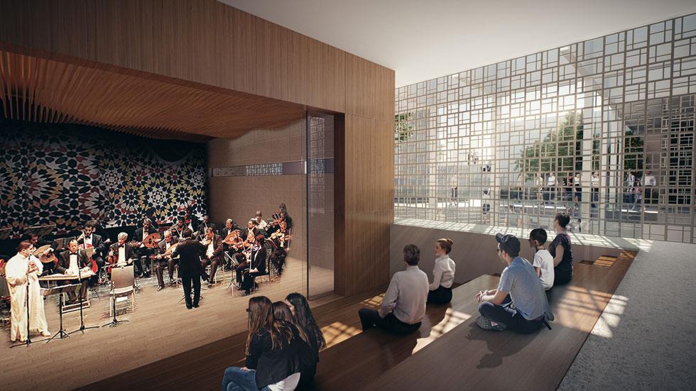 אולם הקונצרטים, שמלבדו יהיה גם אולם חזרות לתזמורת האנדלוסית הישראלית (באדיבות רכטר אדריכלים)