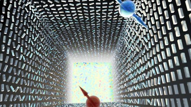 """1.המפץ הגדול הפוטוני: אי סדר חלש יוצר הפרדה חלשה ננומטרית בין פוטונים עם ספין הפוך (אדום וכחול) – """"אפקט ספין-הול פוטוני"""". רק באי סדר מוחלט מתרחש """"המפץ הפוטוני"""" – פוטונים בספינים הפוכים מתפצלים וממלאים את כל מרחב התנע – """"אפקט רשבא הפוטוני"""". התופעה מתארת מעבר פאזה טופולוגי שמתבטא בשבירת סימטריה. המחקר נערך בהשראת מודלים בקוסמולוגיה שמתארים את המפץ הגדול. בתמונה מתוארות ננואנטנות מסיליקון, והמעבר מאנטנות מסודרות בכיוונן לאי סדר מוחלט מתבטא במדידת עליה חדה של האנטרופיה (כמדד לאי סדר) (איור: Ella Maru Studio) (איור: Ella Maru Studio)"""