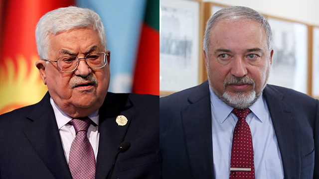 PA Pres. Abbas (L) and Def. Min. Lieberman (Photo: AFP, Reuters)