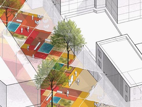 אבני הטרה-קוטה לא ייעלמו, אלא ייפרשו כמעין שטיח צבעוני (באדיבות דרמן ורבקל אדריכלות)