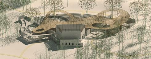 """ההצעה של ז''ק-רייכר: סככת עץ ענקית תקרה את האמפי (הדמיה: באדיבות ז""""ק-רייכר_s-r)"""