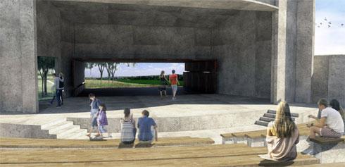 בהצעה הזו, האנדרטה נמצאת על הבמה עצמה (הדמיה: באדיבות צורנמל טורנר אדריכלות נוף ודב גנשרוא)