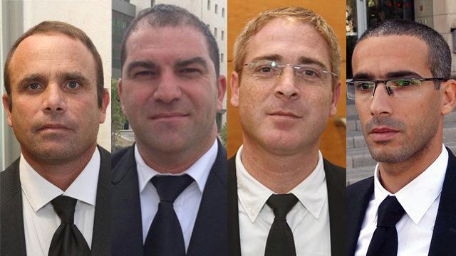מימין: עורכי הדין שחר חצרוני, יהלי שפרלינג, אורי בן נתן ודורון נוי (צילום: יריב כץ, עידו ארז)